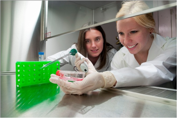 Dr. Willerth and a student at work in her Stem Cells Lab
