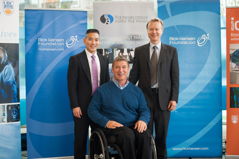Dr. Brian Kwon, Rick Hansen and Dr. Wolfram Tetzlaff after the announcement.