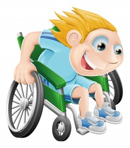 Cartoon illustration of a happy boy racing in his wheelchair