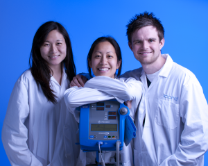 Dr. West (right) with Krassioukov Lab colleagues Melissa Pak (centre) and Shirley Wong (left)