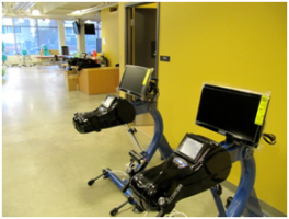GameCycle Ergometer:   Video games can be played while exercising to help increase engagement during a cardiovascular workout.