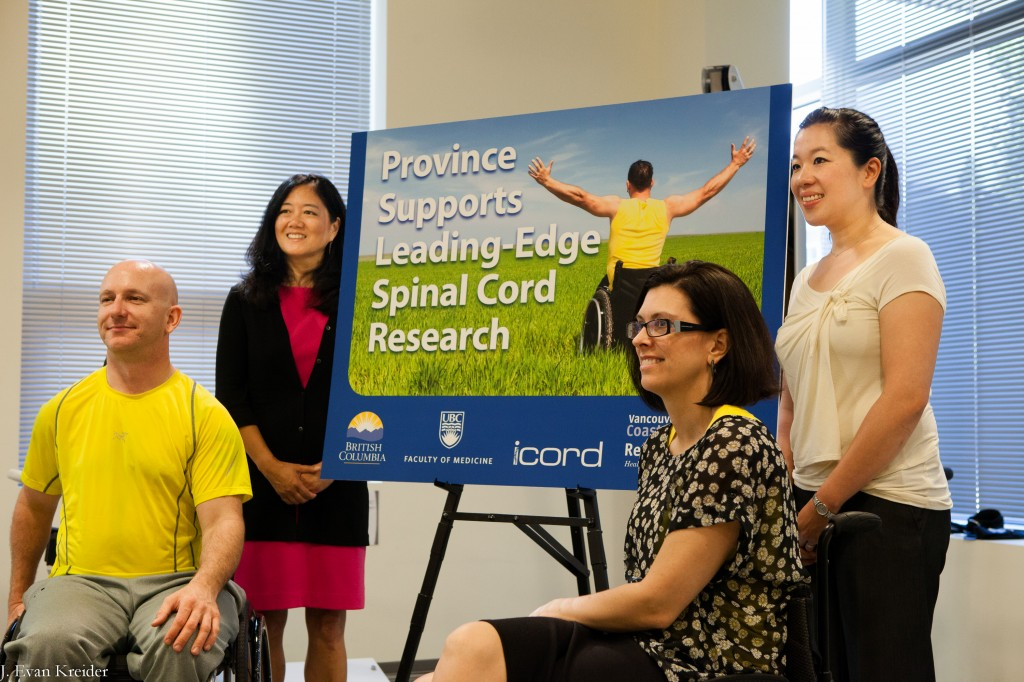 Picture above from left to right: PARC paritipcant John Chernesky, Minister Stephanie Cadieux, MLA Naomi Yamamoto, Minister Stephanie Cadieux, and ICORD researcher Dr. Tania Lam.
