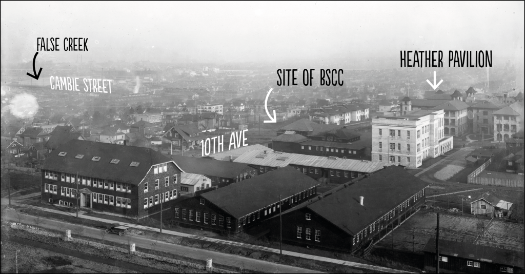 The neighbourhood in the 1920s, looking east and showing the site of the BSCC. Heather Pavilion is the only building still standing. Photo courtesy of University of British Columbia Archives, Nowell photo [UBC 1.1/1317]
