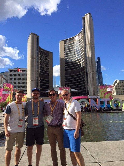 The Krassioukov team arrives in Toronto to study the autonomic nervous systems of elite athletes and how spinal cord injury affects blood pressure, heart health, and brain function. (L to R: Cameron Gee, Jordan Squair, Dr. Aaron Phillips, Dr. Andrei Krassioukov [missing: Dr. Katharine Currie]).