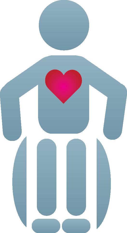 wheelchair heart grey