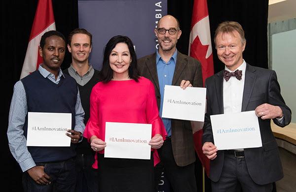 Photograph of researchers taken at funding announcement.