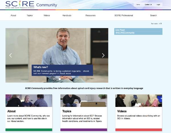 Screenshot of SCIRE community website