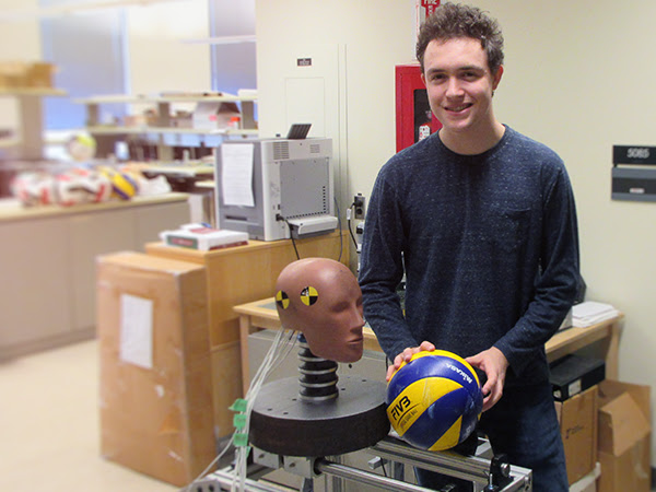 Jacob Kelly pictured with his apparatus.