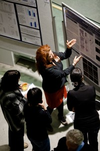 Postdoctoral Fellow presents her research during the poster session at ICORD's Annual Research Meeting in February, 2012