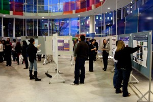 Attendees peruse research posters at ICORD's Annual Research Meeting in February 2012
